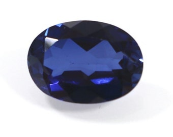 Lab Created Sapphire Gemstone,  Faceted Cut 7 cts Oval 14x10 mm, Synthetic Blue Corundum, 14x10mm