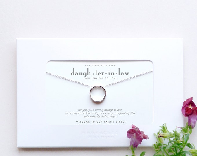 Daughter In Law | Welcome to Our Family Circle | Future Daughter-in-Law Poem Message Engagement Wedding Gift Sterling Silver Karma Necklace