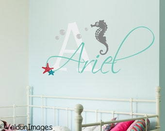 Seahorse, name wall decal, name decal, seahorse wall decor, name wall decor, beach decor, girls room decor ocean, childrens name decal girls