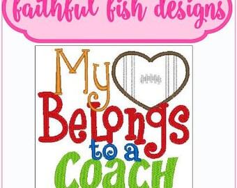 My Heart Belongs to a Coach Football Embroidery Design, Football Coach Love, Football Embroidery Design