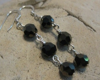 Faceted black glass drop earrings