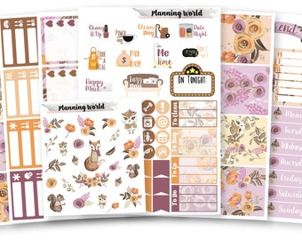 Autumn Woodland//VERTICAL Weekly Kit for Erin Condren, Happy Planner//Fall Floral Animal Woodland Sticker Set//7 Sheets of Stickers//B025