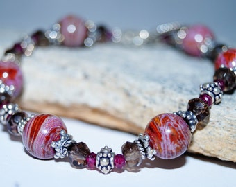 Jasper, Smokey Quartz and Garnet Beaded Bracelet