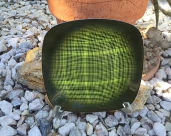 Cathrineholm Square Green Enamel and Stainless Steel Plate (6) with Raised Black Pattern By Grete  Prytz