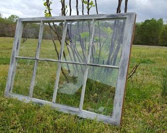 Shabby distressed rustic 8 pane 40x27 gray vintage window sash