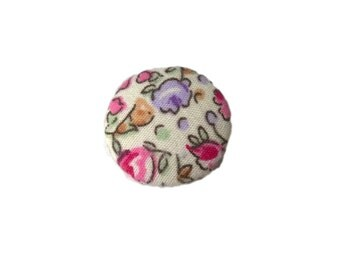 Pink Purple and White Roses Floral Flowers Fabric Covered Metal Buttons 22mm