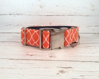 MADE TO ORDER- Orange Quatrefoil Dog Collar, Choose width- Buckle or Martingale- add Embroidery and/or Leash