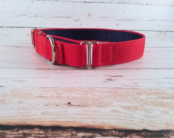 MADE TO ORDER- Superman Red Dog Collar, Choose width- Buckle or Martingale- add Embroidery and/or Leash