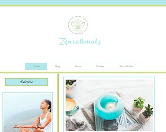 Premade Website Zensational Theme – perfect for yoga, crafts, handmade in wix platform