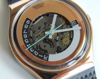 80's Swatch Watch Moonquake GX404, watch with date, vintage swatch, clear watch, copper color watch, exposed gears watch