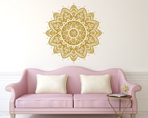 Wall Decal Mandala  Vinyl Sticker Decals Lotus Flower Home Decor Boho Bohemian Bedroom Ornament Moroccan Pattern Namaste Yoga Studio x113