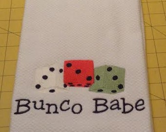 BUNCO BABE Embroidered Kitchen Hand Towel. Williams-Sonoma Kitchen Towel, Made in Turkey, 100% cotton, XL