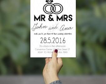 Minimalistic Black & White Wedding Invitation