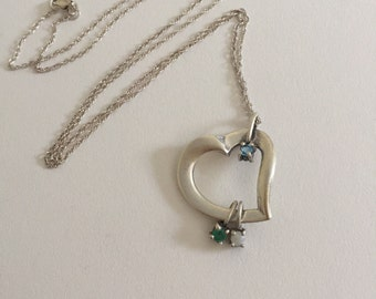 Vintage Emerald, Opal, and Blue Topaz Open Heart Lenox 925 Sterling Silver Pendant Necklace