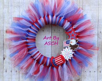 Red, white and blue 4th of July tulle wreath, home decor, tutu wreath, patriotic, American flag, Independence Day, eagle, Memorial Day