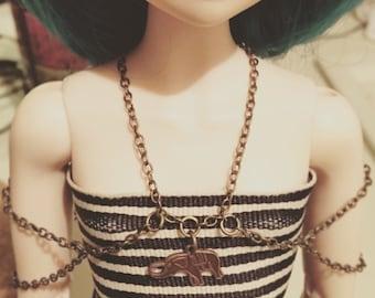 BJD Vintage Triple Chain Charm Necklace