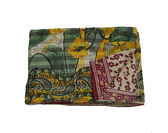Vintage Kantha Blanket, Reversible Beach Throw, Ethnic Floral Print Twin Size Bedspread