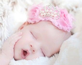 Pink baby girl headband, baby hair bows, baby crown, princess headband, newborn headbands, baby crown headband, headbands for babies, baby