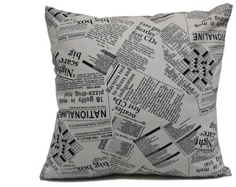 Decorative Throw pillow Cover, Newspaper Cushion Cover, Handmade Retro Pillowcase, Vintage Throw Pillow Cover, Hipster 18*18
