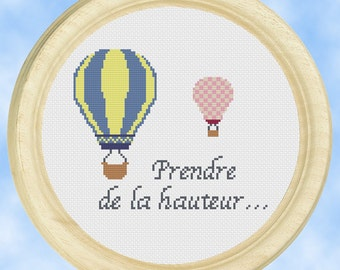 Hot Air Balloon Cross stitch pattern