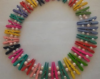 Original Eco Friendly Necklace Handmade of Wooden Pegs and Pearl Beads