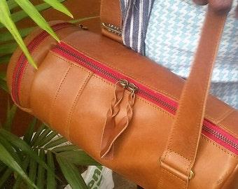 Womens Leather Barrel Handbag Quality Vintage