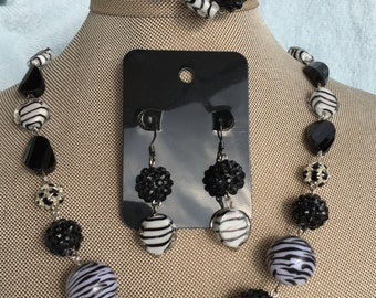 Zebra Print Jewelry Set