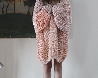 Supersize Salmon Pink Chunky Knit Cardigan