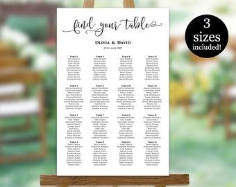 Wedding Seating Chart Template, Printable Seating Plan, Seating Chart Sign, Seating Board, PDF Instant Download, Editable Seating Poster