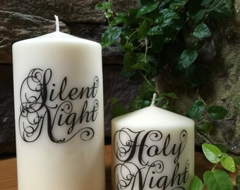 Christmas Candle, Pillar Candle, Silent Night Holy Night, Christmas gift, Candles