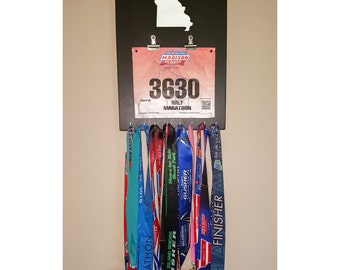 "Handmade Running Medal/Bib Hanger/Holder/Display ""I Run 'Missouri'"""