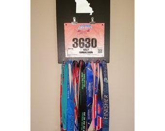 """Handmade Running Medal/Bib Hanger/Holder/Display """"I Run 'Missouri'"""""""
