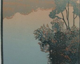 Teri Malo, linocut, Along the Fens 9/10  Fenway Studios Artist