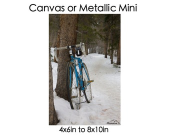 Blue Bicycle Canvas or Metallic Mini 12x18 to 24x36 // old bicycle // blue vintage // trail // nature // wall art