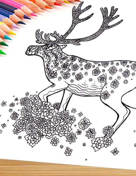 Printable Adult Coloring Page Mandala Caribou