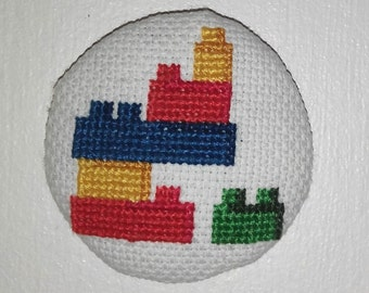 Lego magnet - Magnet cross-stitch - diameter 5 cm