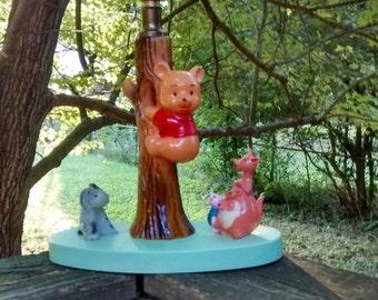 Vintage Winnie the Pooh lamp 1960s Winnie the Pooh nursery decor with piglet kanga roo and eeyore vintage children's room lamp classic pooh
