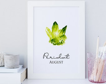 Peridot wall art, August wall art, August printable, monthly birthstone prints, gemstone wall art, Peridot wall decor, Bright green print