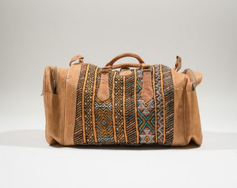 Leather hippie duffel big travel bag embroidered