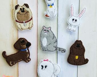 Secret Life of Pets Machine Embroidered Felt Appliques Secret Life of Pets Felties Dog Felties Cat Felties Rabbit Felties Bow Supplies