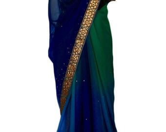 Green Blue Peacock Saree