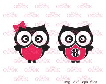Owls SVG cut files, Owls Monogram Frame svg cut files for use with Silhouette, Cricut and other Vinyl Cutters, digital cut file