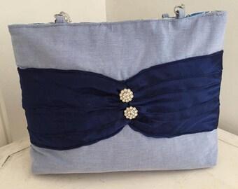 blue/floral day or evening bag