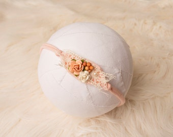 Peach Baby Headband, newborn tieback, Newborn Headband, Baby Halo, Photo Prop