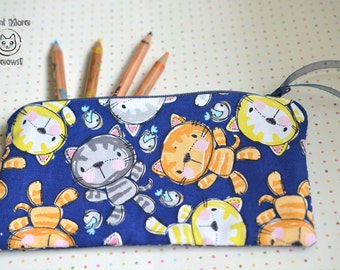 Cat pouch Kitty makeup case Kawaii cat phone case Cosmetic bag Gadget zipper pouch Cute custom wallet  Crazy cat lady Gift for cat lovers