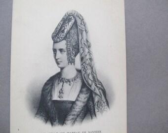 Isabeau of Bavaria postcard / Isabelle ou Isabeau de Baviere antique postcard / D'Anjou antique postcard / French Etching postcard / ND Phot