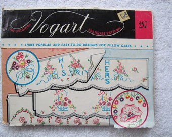Vogart 287 Transfer Pattern / Pillow case designs / hot iron transfers / his her pillow case patterns