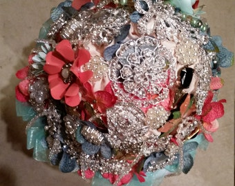 Coral and Mint brooch bouquet - SOLD!