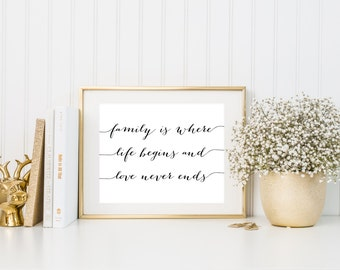 Family Is Where Life Begins and Love Never Ends Printable, Family Quote Print, Collage Print, Home Decor Prints, Cursive Love Prints