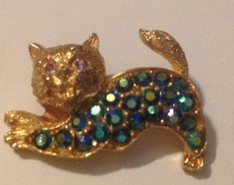 Cat Gold Tone Pin with Greenish Blue  Rhinestones